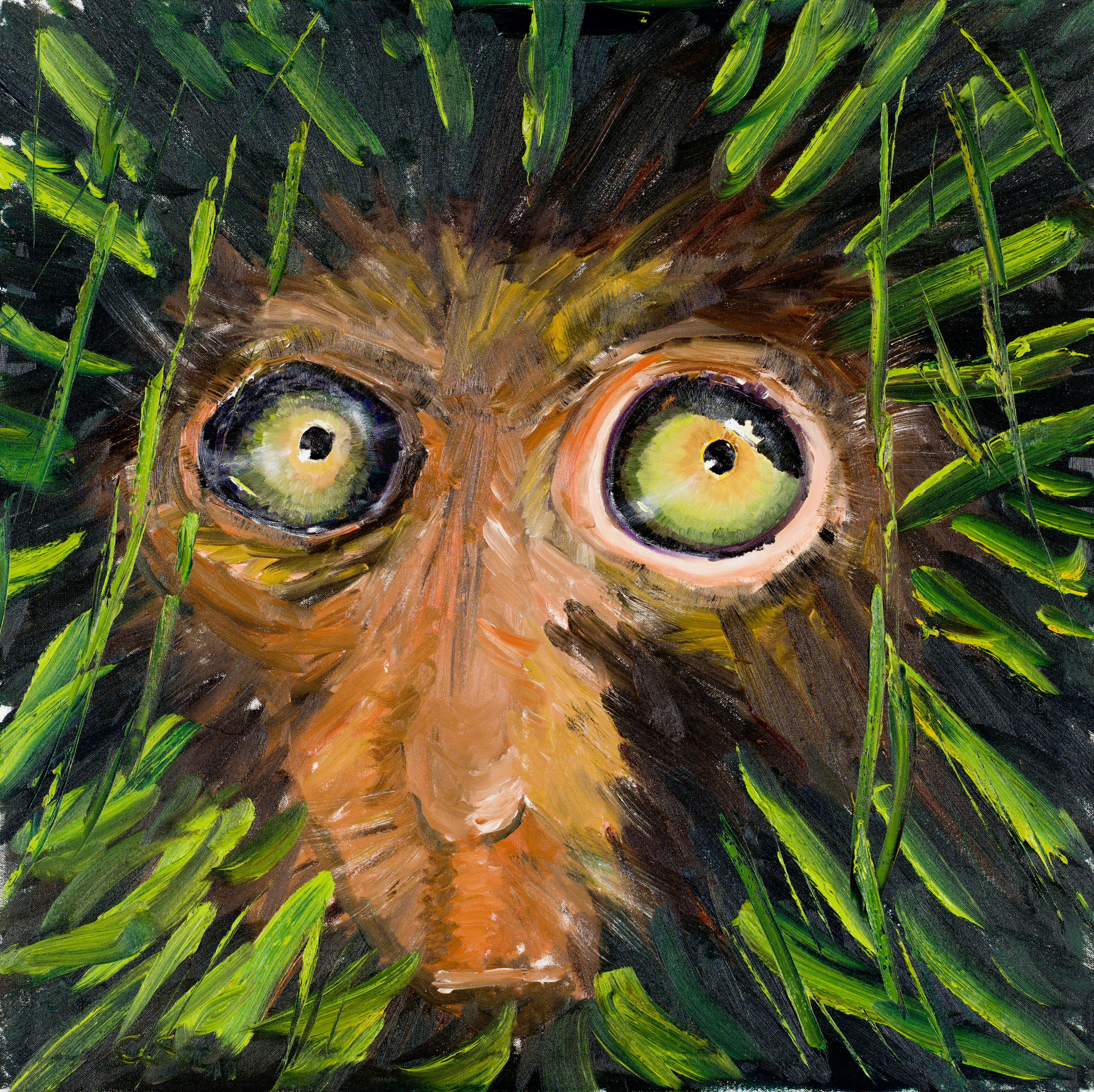 Threatened habitat oil painting