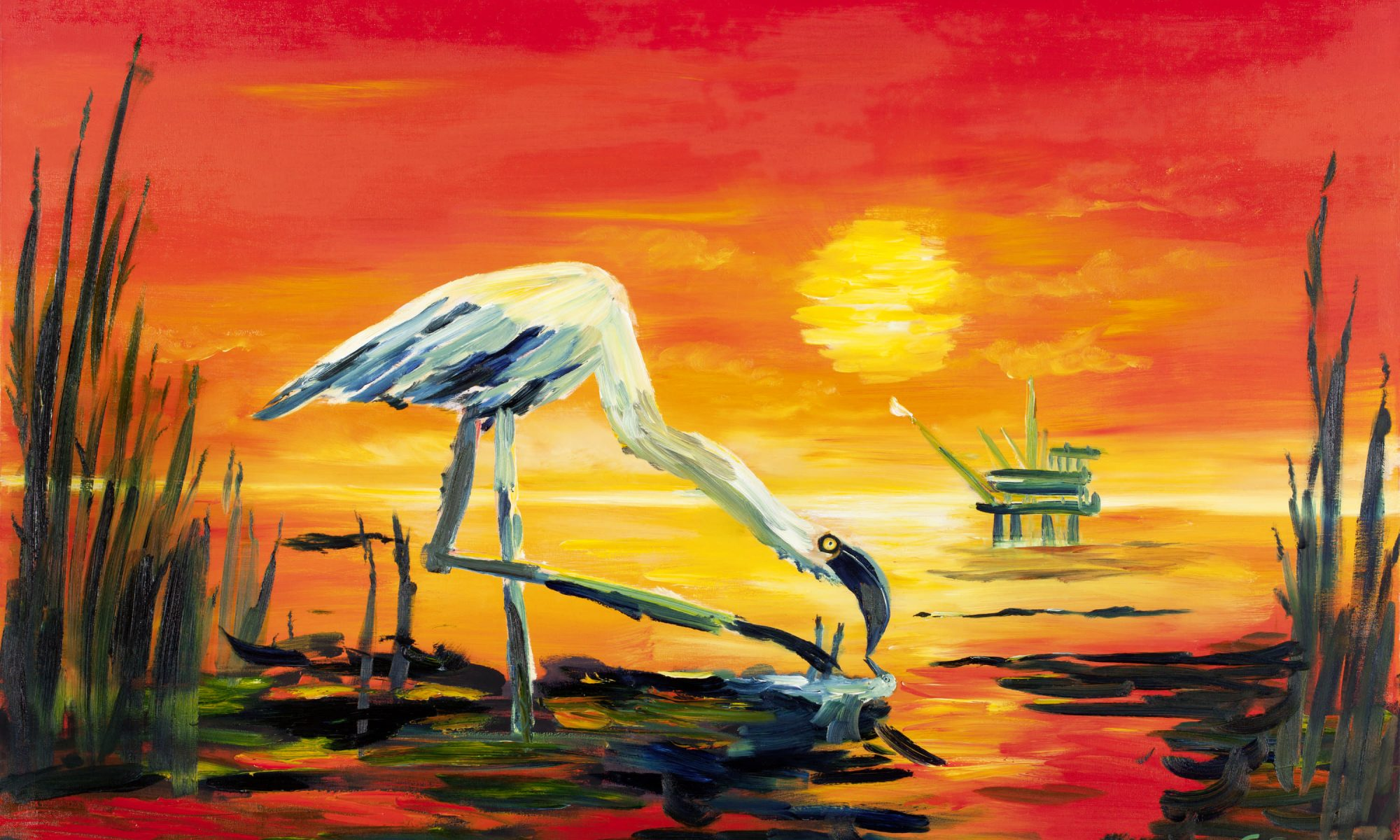 flamingo mother and cub in the oil spill painting