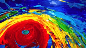 Detail: Hurricane Irma oil painting climatic change Christian Seebauer